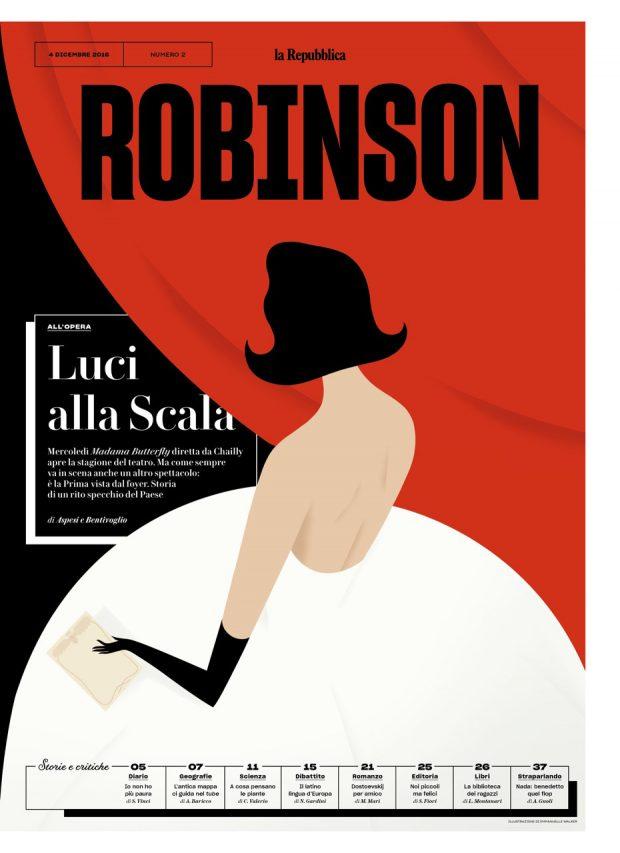 Illustration von Emmanuelle Walker für »Robinson«, die neue Kulturbeilage von »la Repubblica«. www.emmanuellewalker.com