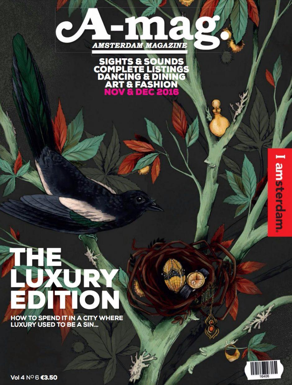 Pauline Teunissen alias La Scarlatte verzierte das Amsterdamer Stadtmagazin mit ihren typischen schwelgerischen Bildern von Flora und Fauna. https://lascarlatte.com/