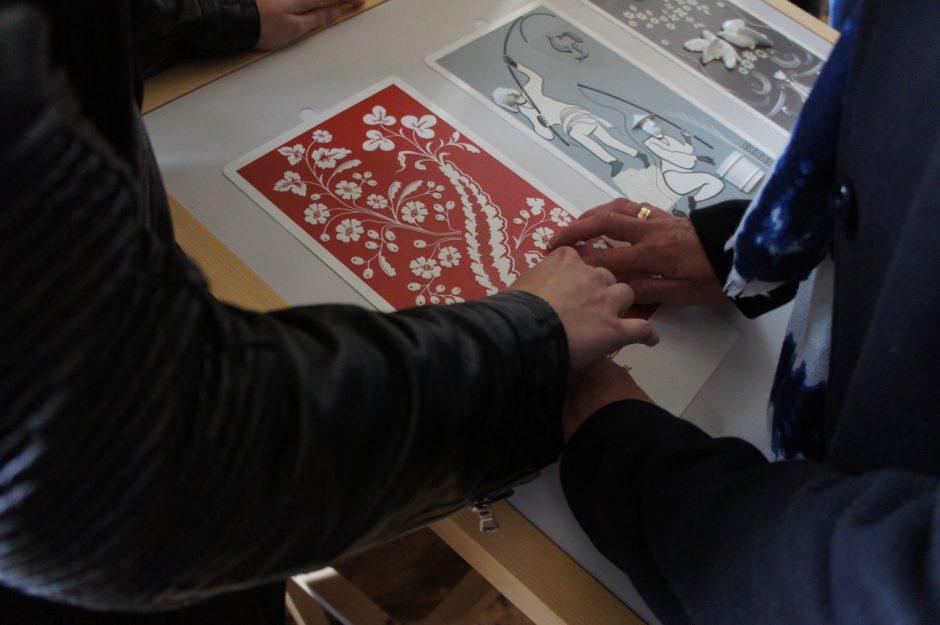 Projekt Schloss Champs-sur-Marne (Paris), 2016, Taststation: taktile Version von Wandteppichen