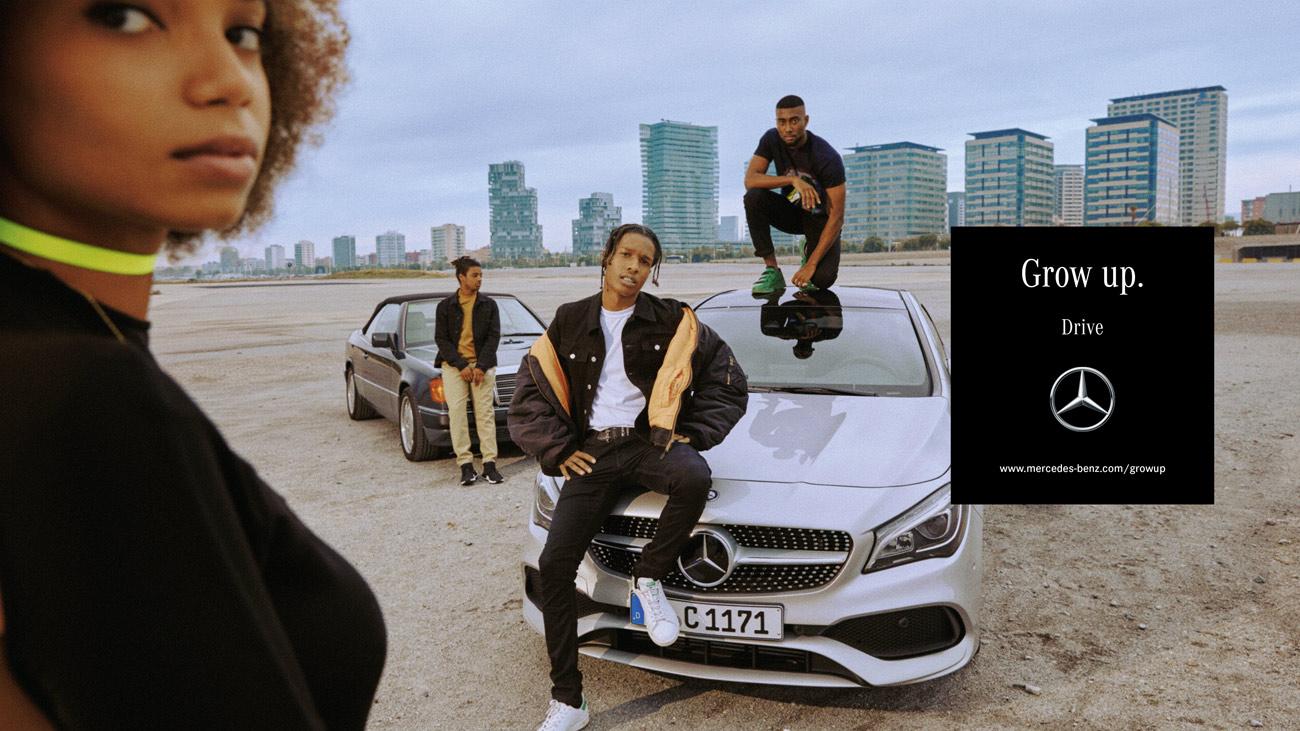 »Grow up« heißt die neue Kampagne für Mercedes, in der mehr als 100  Bewegtbildsequenzen und über 90 Fotografien für eine neue  Mercedes-Generation werben ...