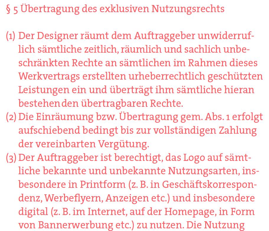 Mustervertrag Fur Designer Ubertragung Von Nutzungsrechten An Einem Entwurf Page Online
