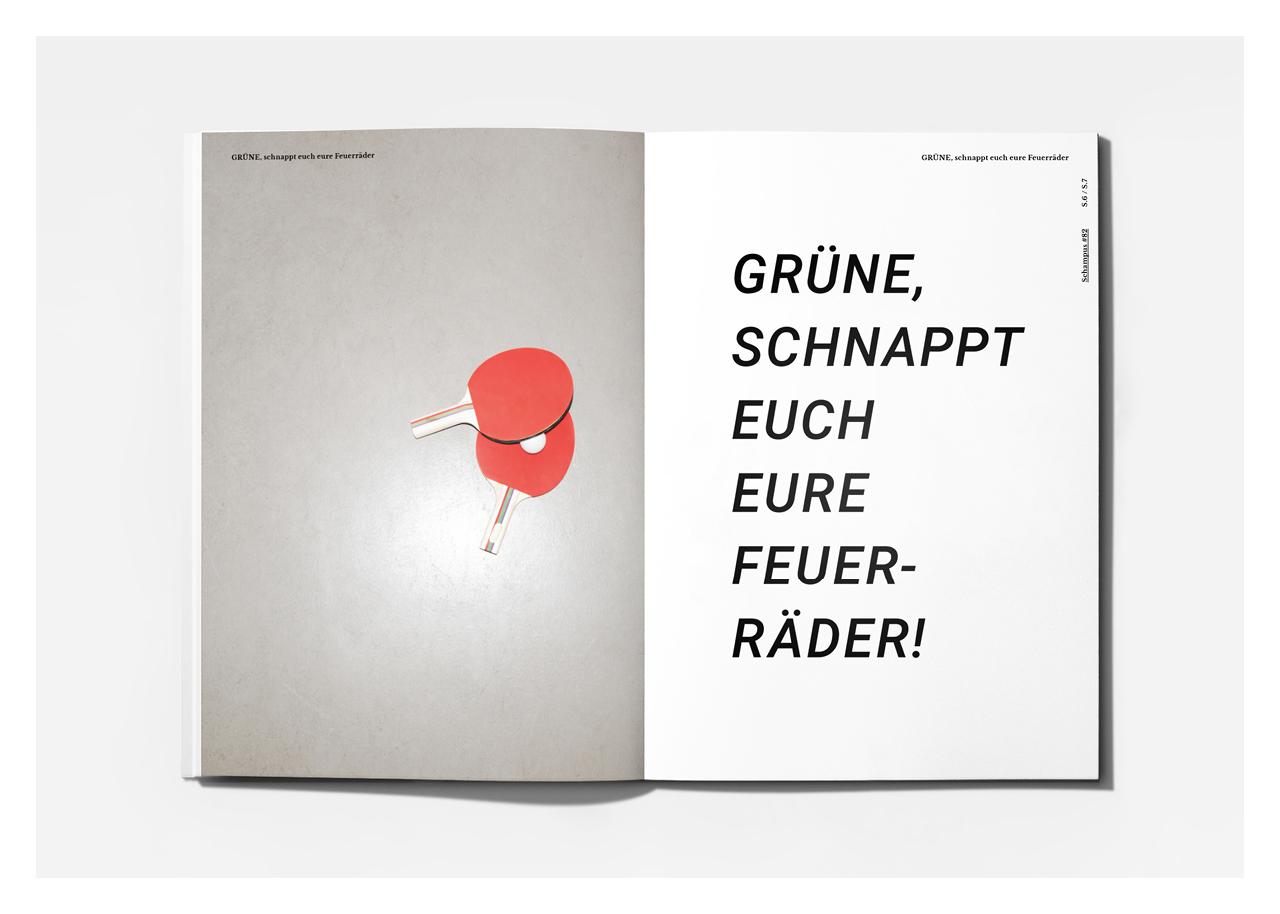Editorial Design: Schampus Magazin (Grüne Jugend Hessen)