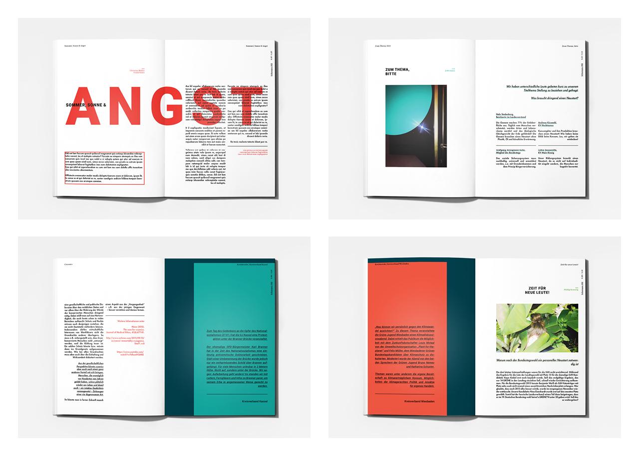 Editorial Design: Schampus Magazin Bureau Mitte Grüne Jugend