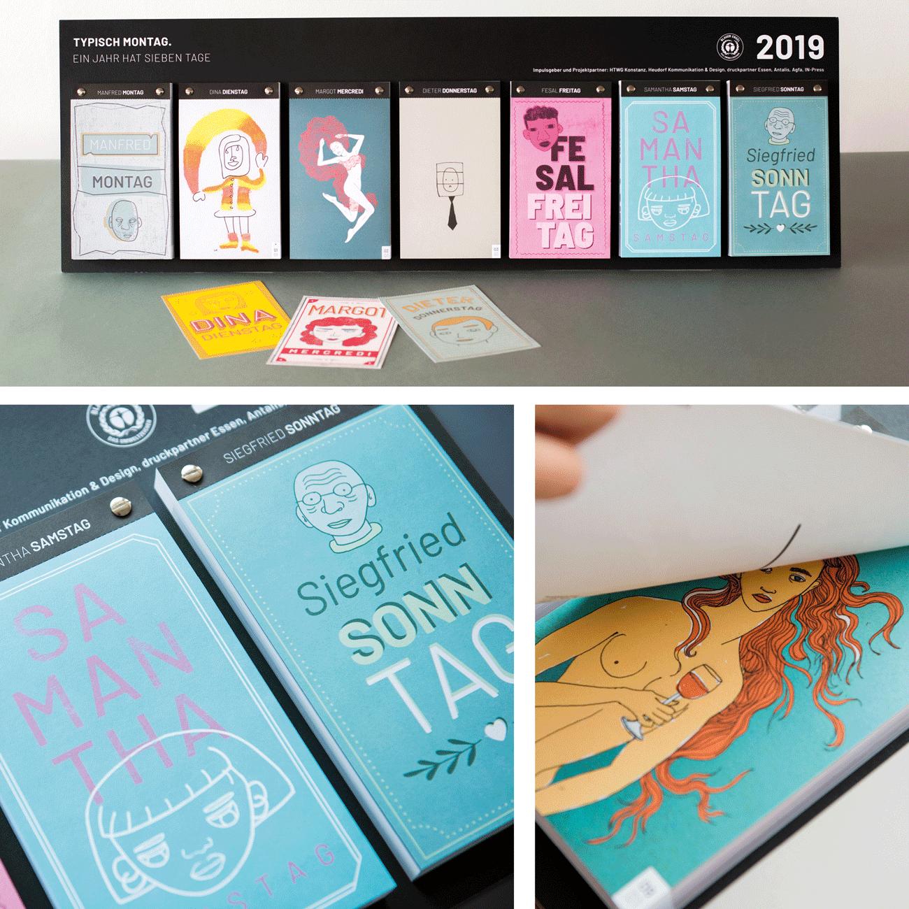 Kalenderdesign 2019 von der HTWG Konstanz mit Illustrationen