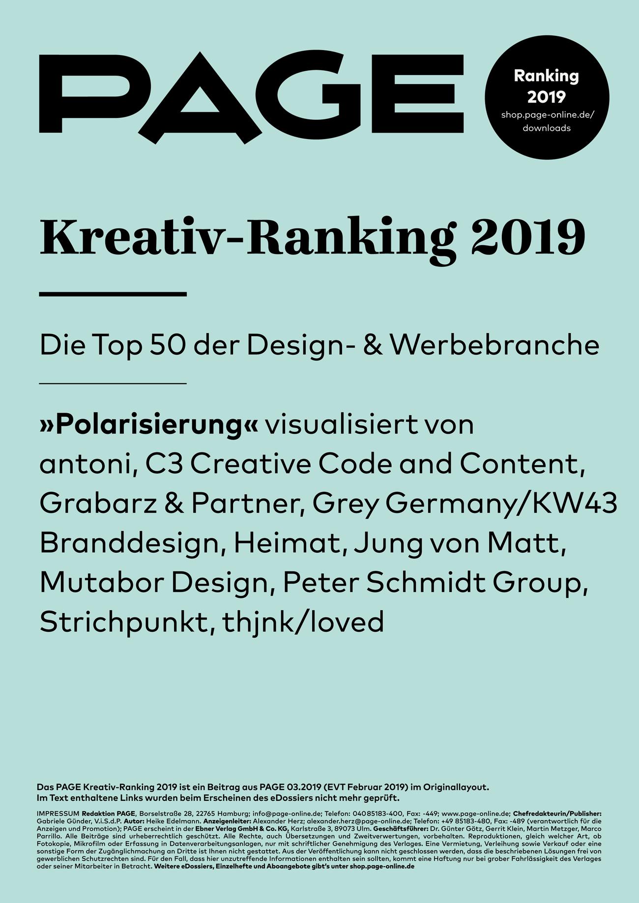 PAGE Kreativ-Ranking 2019