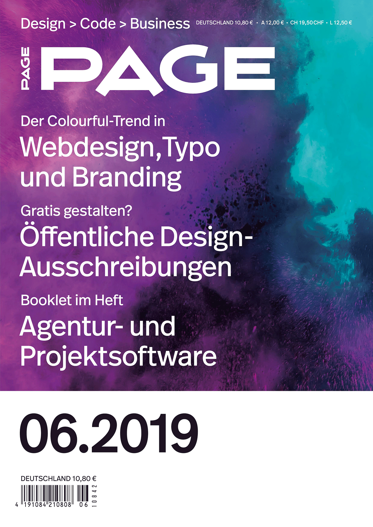 Cover PAGE 06.2019, Branding, Corporate Design, Fonts, Interface Design, Onlineshop Design, Service Design, Typografie, UX Design, UI Design, Webfonts