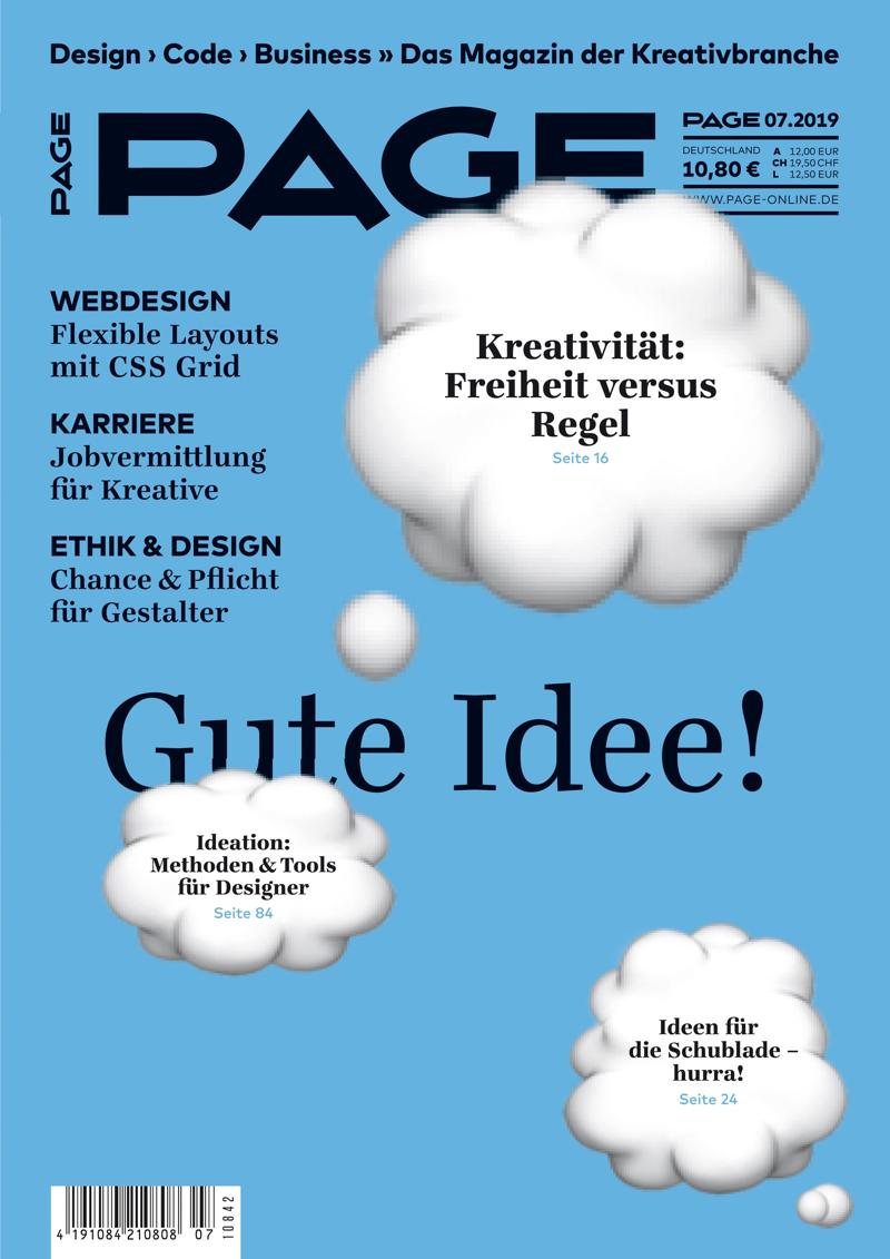 Die neue PAGE 07.2019 ist da: Ideenfindung, Kreativitätstechniken, Design, Design Thinking, Designagentur, Werbeagentur, Digitalagentur