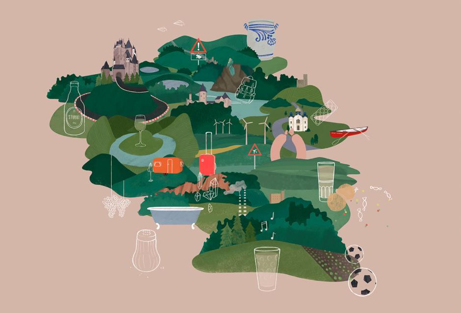 Illustration »heimat/en« für den Kultursommer Rheinland-Pfalz