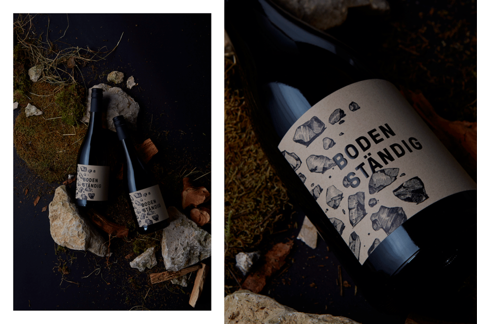 Etikettengestaltung für den Markenwein »Bodenständig«