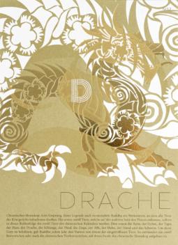 """Sammelkarte """"Drache"""": Heißfolienprägung und Relieflack"""