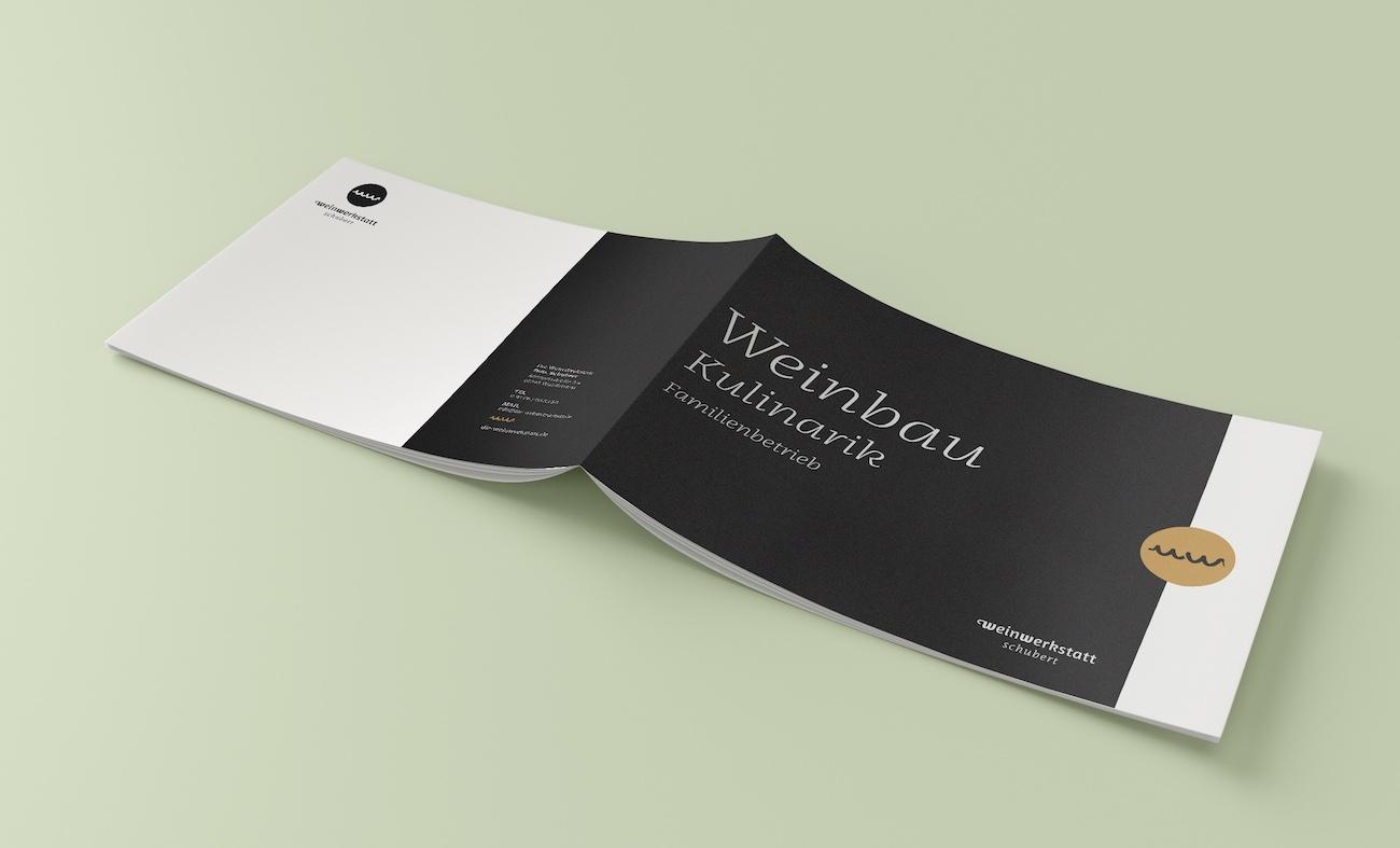 Weinwerkstatt Broschüre mit Typo Franziska