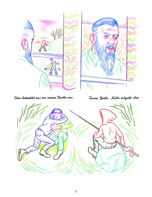 Graphic Novel Farbstiftzeichnungen