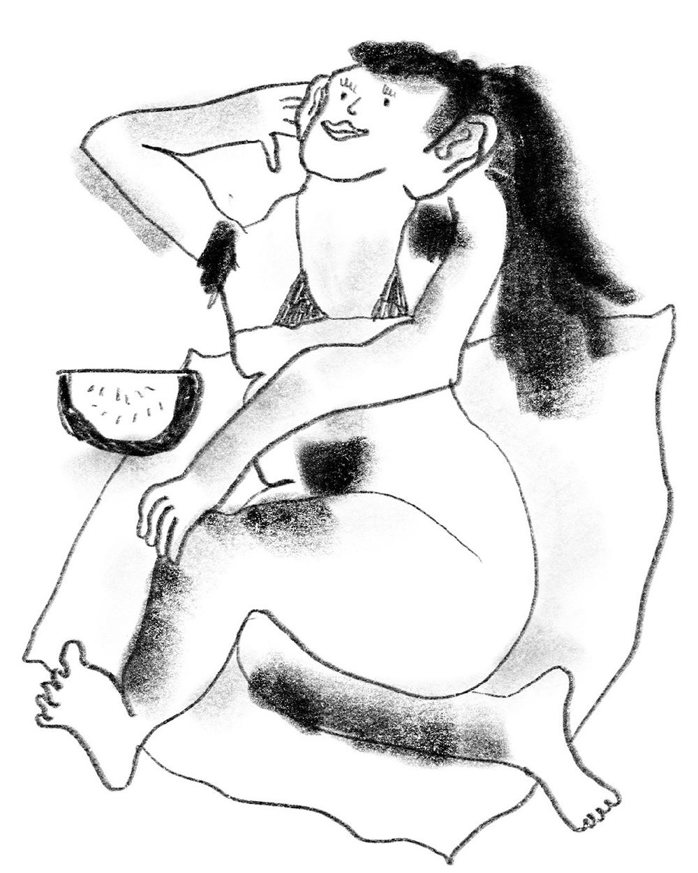 Illustration Eva Dietrich Weibliche Körperbehaarung