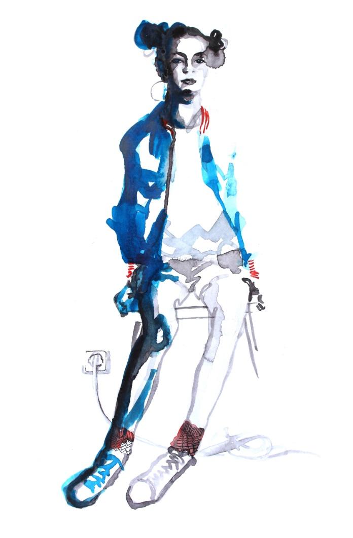 Portrait Illustration Wasserfarben Anusch Thielberg
