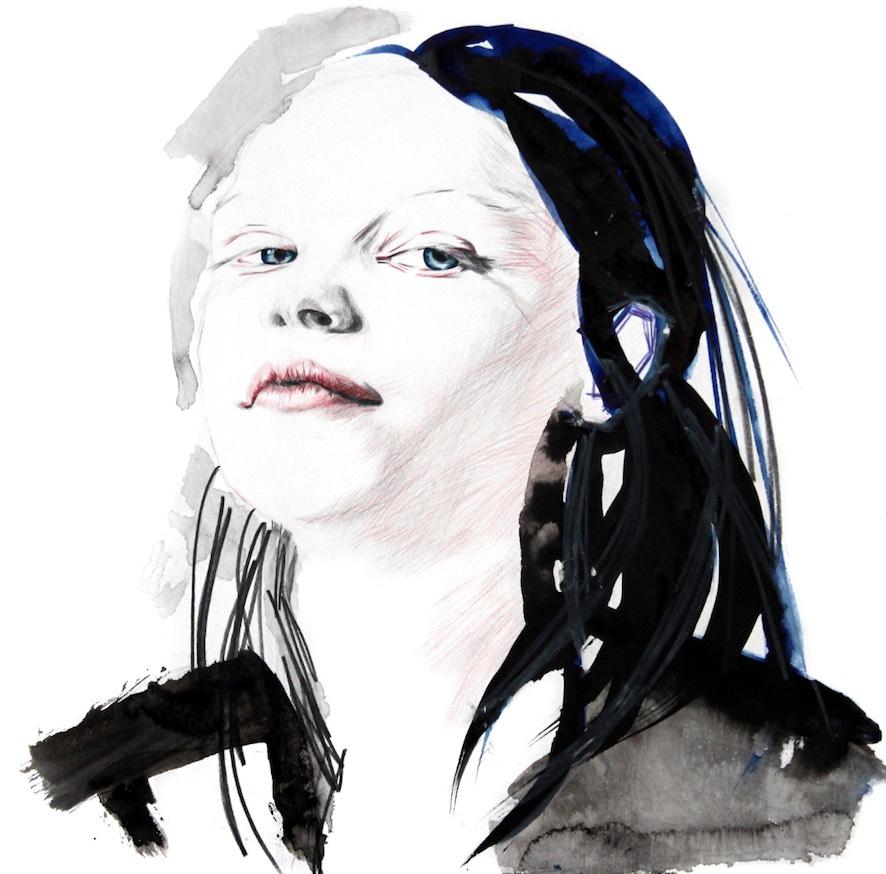 Portrait Zeichnung Aquarell Anusch Thielberg