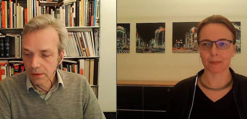 AGD-Justiziar Alexander Koch und AGD-Geschäftsführerin Victoria Ringleb beim Webinar