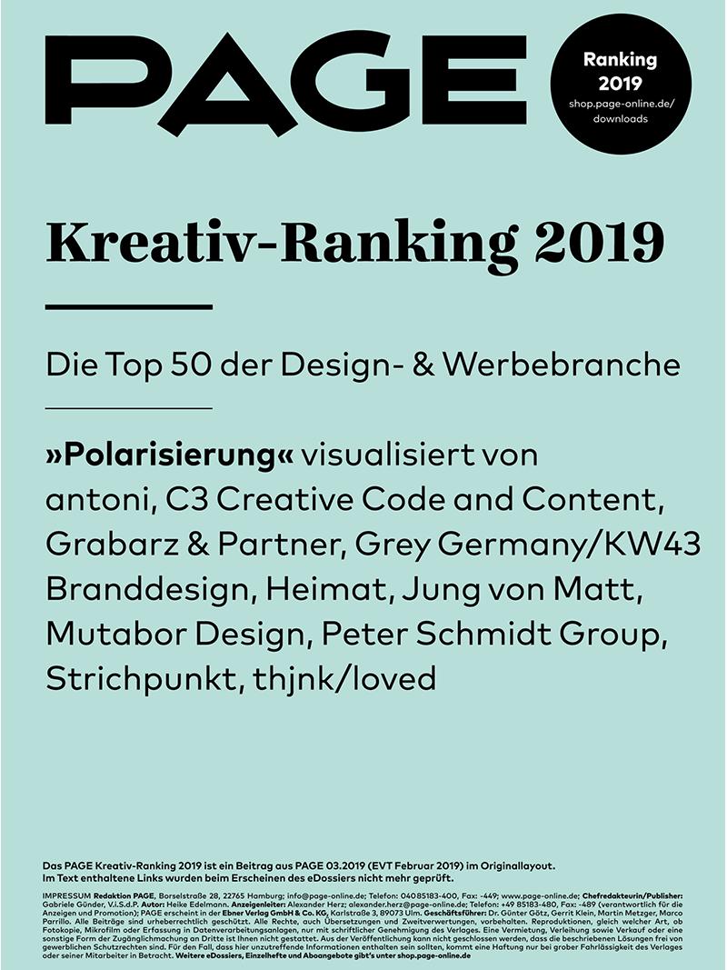 Produkt: PAGE Kreativ-Ranking 2019