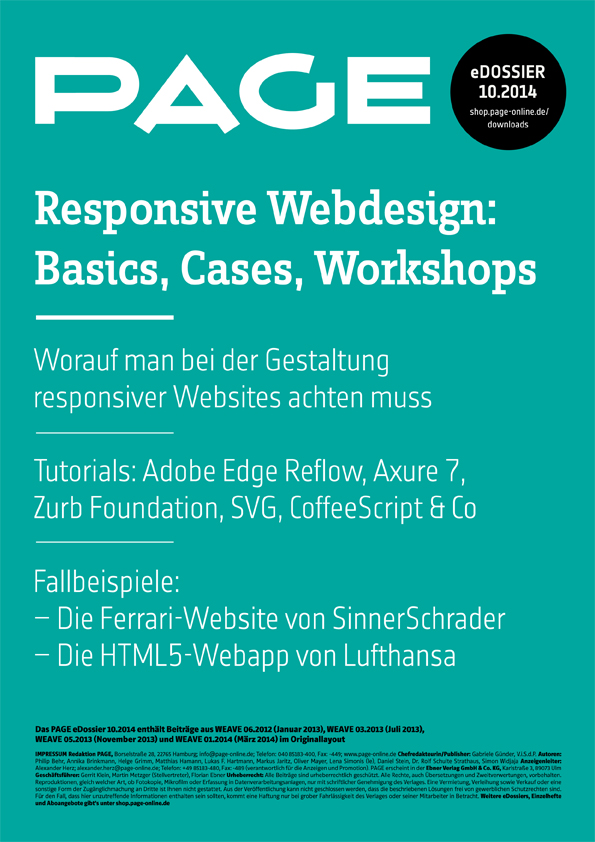 Produkt: eDossier »Responsive Webdesign – Basics, Cases, Workshops«
