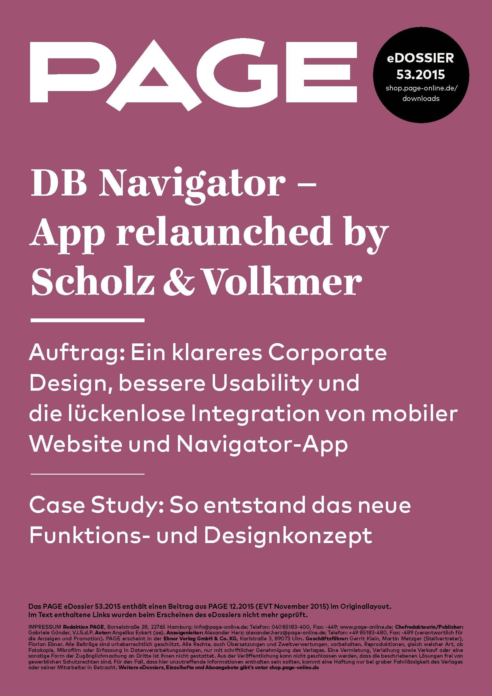 Produkt: eDossier »DB Navigator – App relaunched by Scholz & Volkmer«