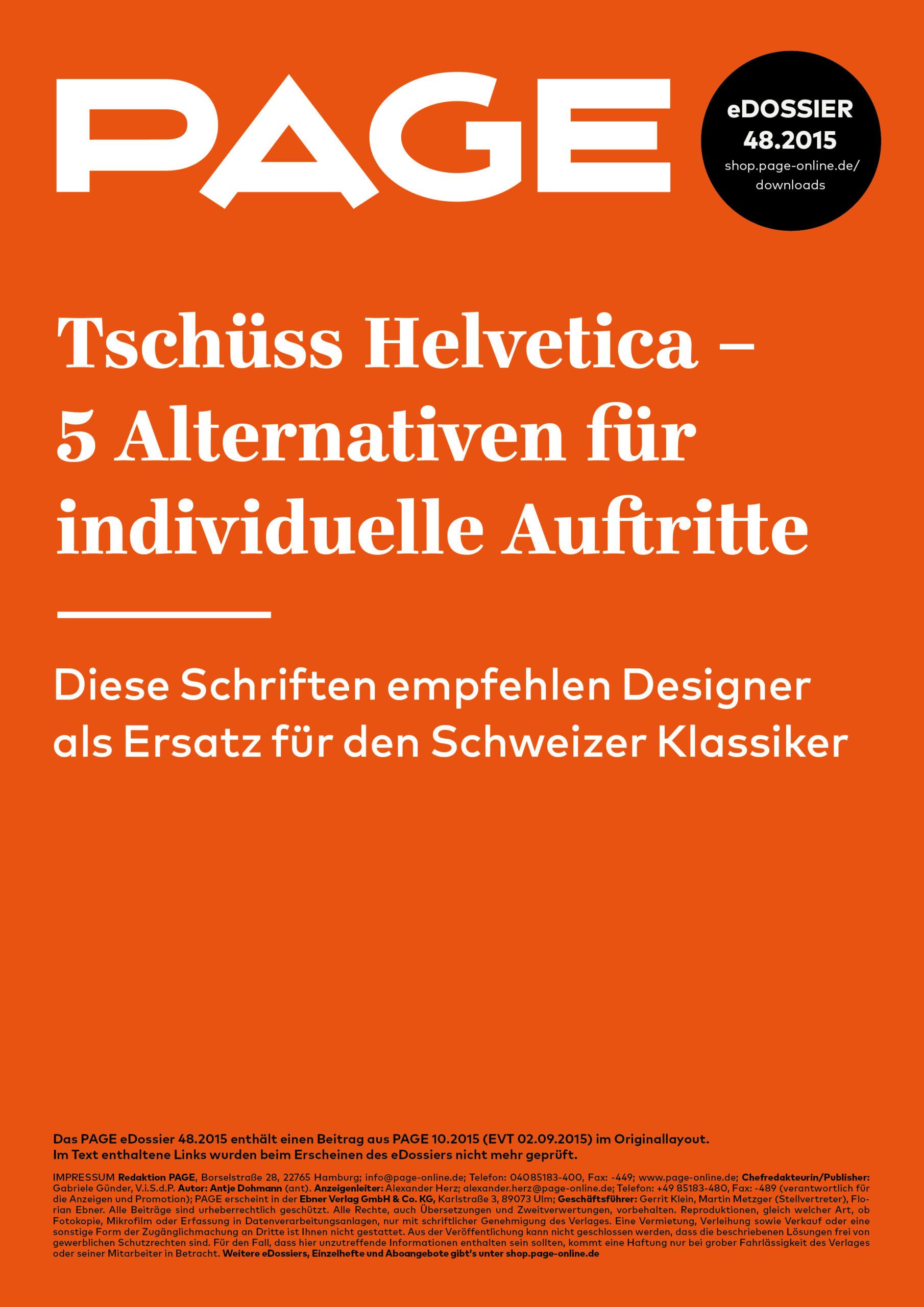 Produkt: eDossier »Helvetica-Alternativen«