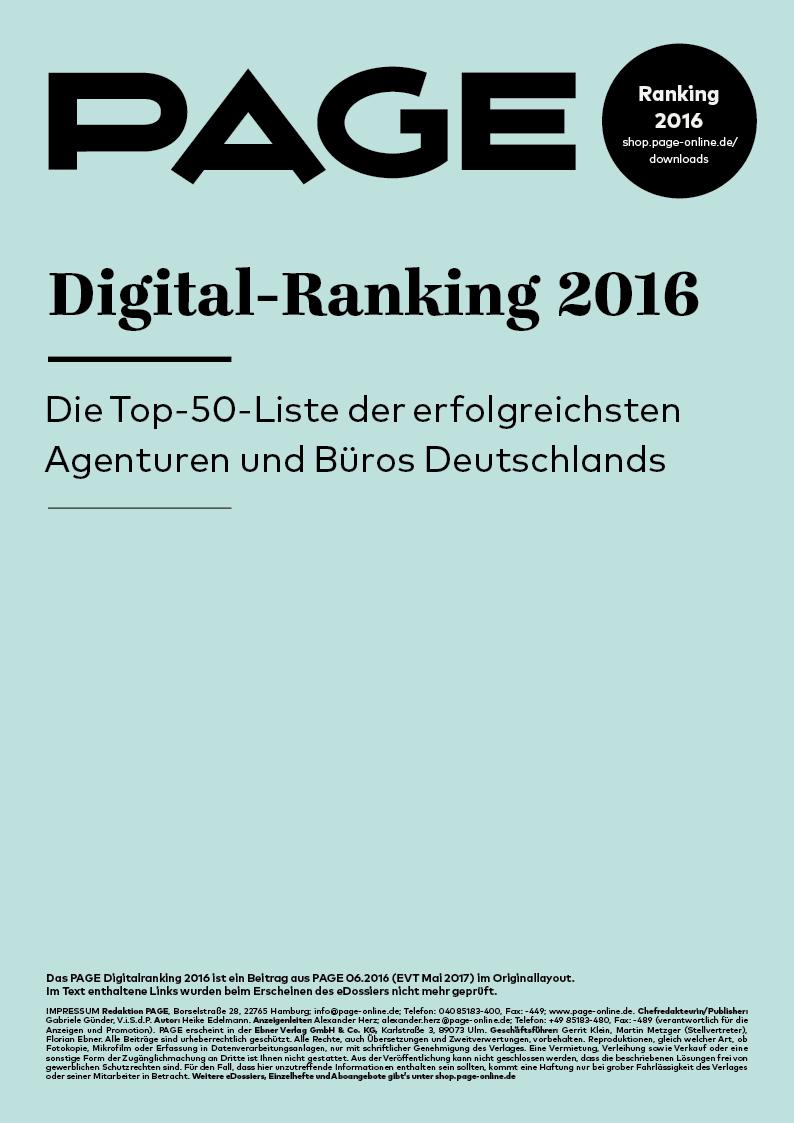 Produkt: eDossier: »PAGE Digital-Ranking 2016«
