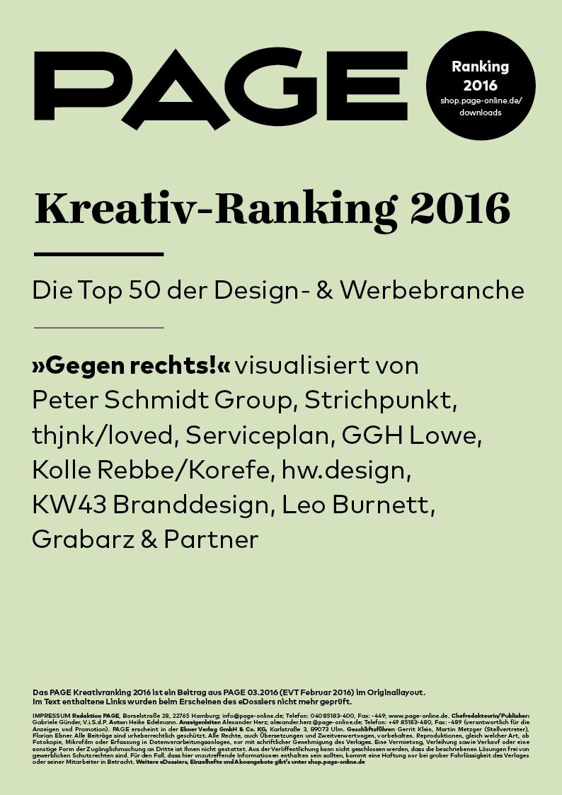 Produkt: eDossier: »PAGE Kreativ-Ranking 2016«