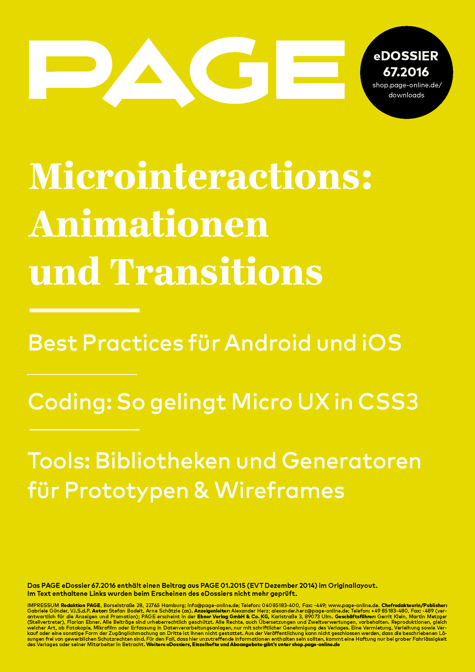 Produkt: eDossier: »Microinteractions: Animationen und Transitions«