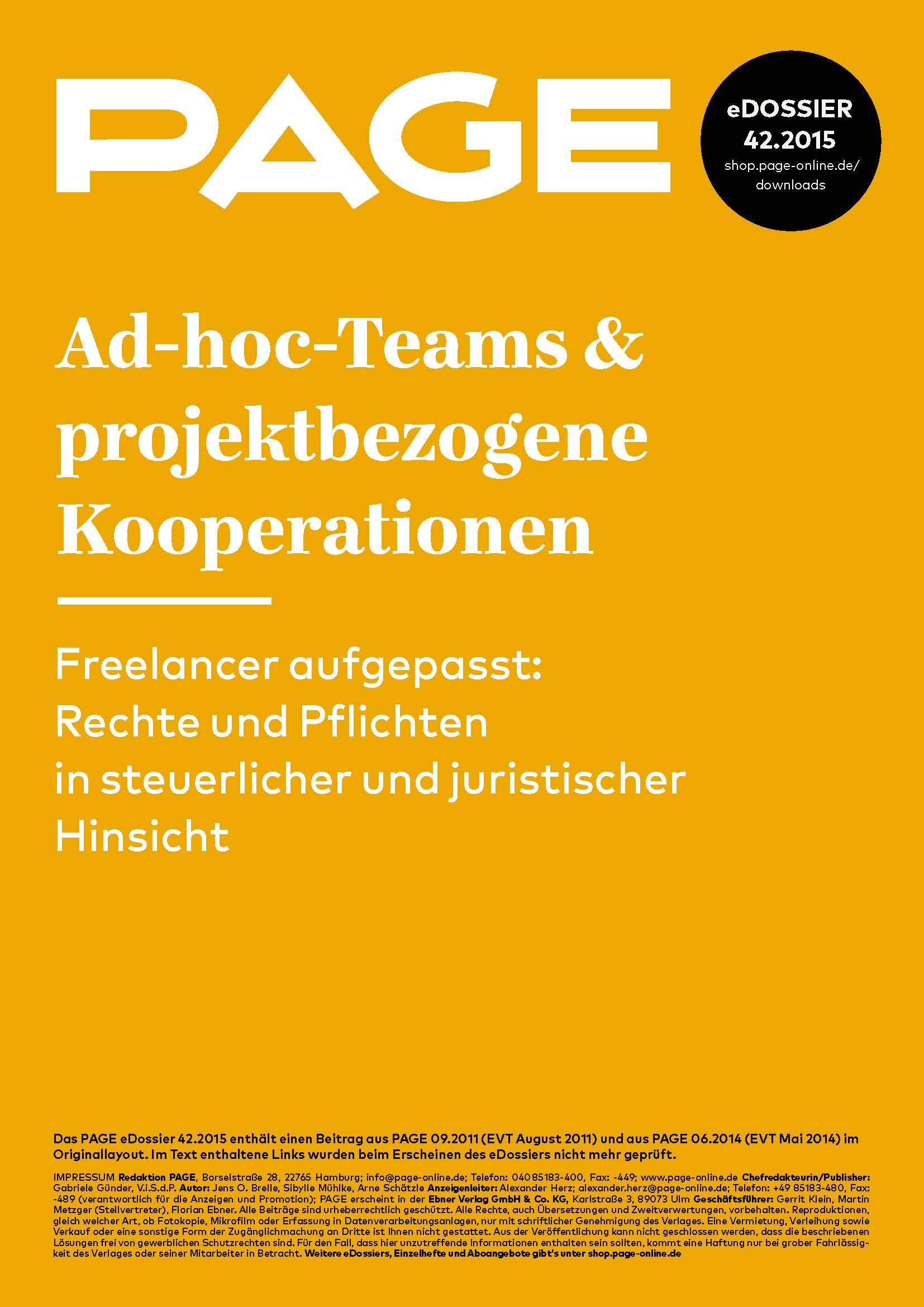 Produkt: eDossier: »Ad-hoc-Teams & projektbezogene Kooperationen«
