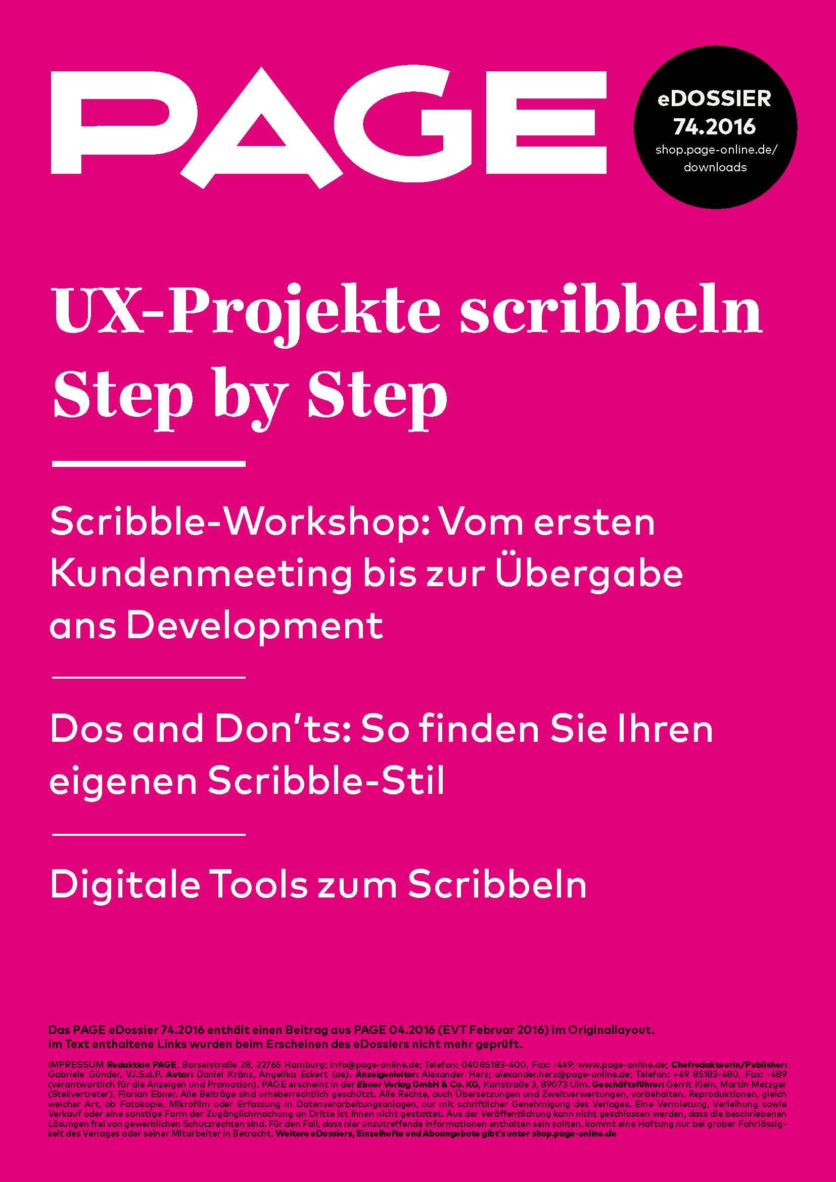 Produkt: eDossier: »UX-Projekte scribbeln Step by Step«