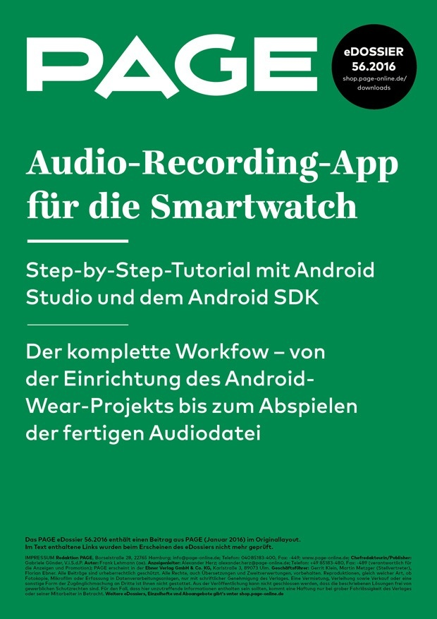 Produkt: eDossier: »Audio-Recording-App für die Smartwatch«