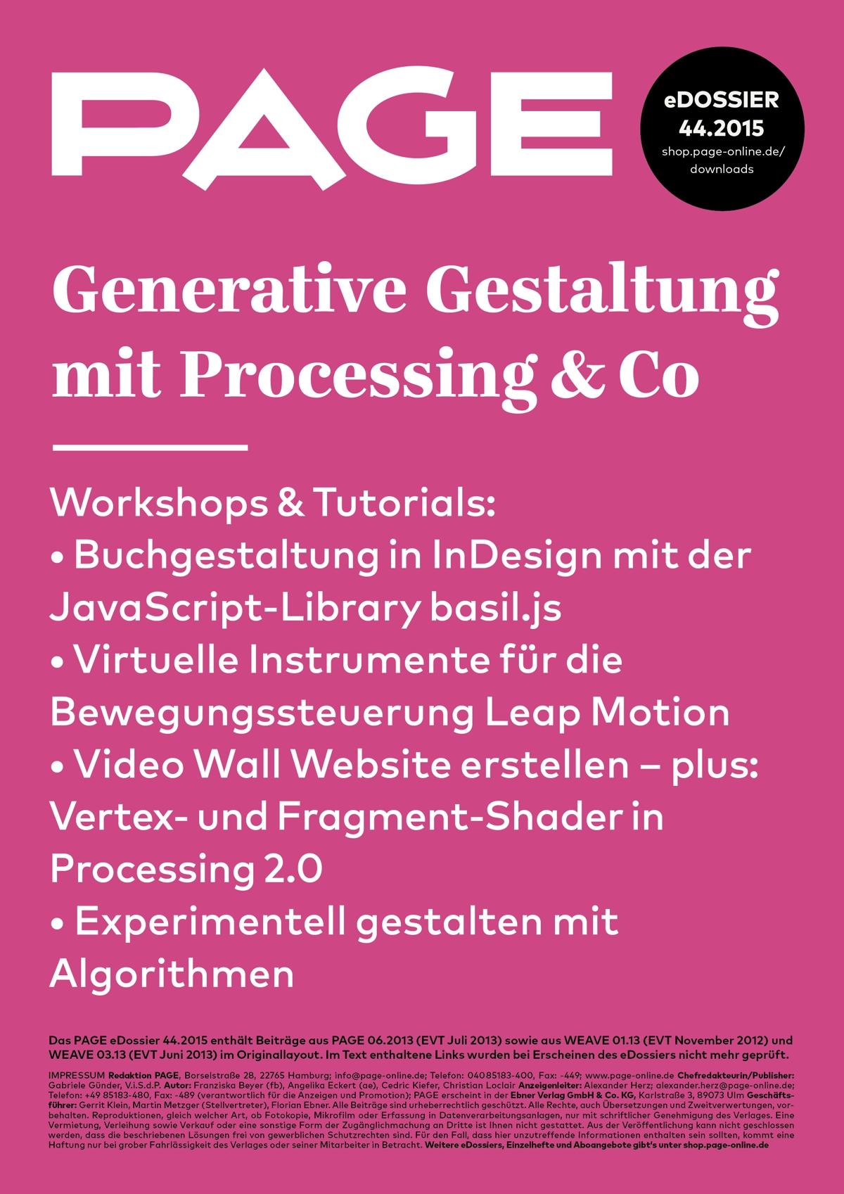 Produkt: eDossier »Generative Gestaltung mit Processing & Co«