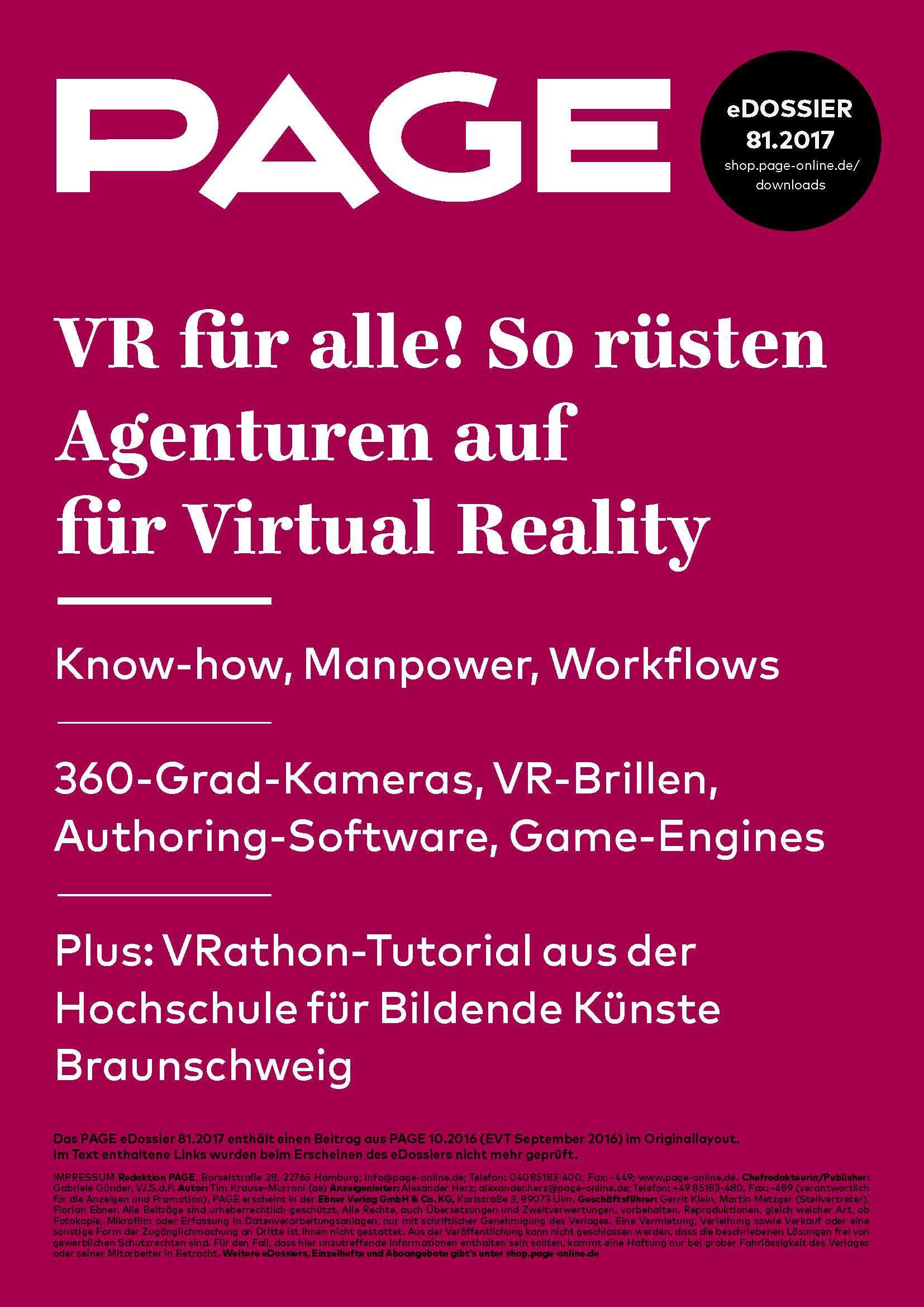 Produkt: eDossier »VR für alle! So rüsten Agenturen auf für Virtual Reality«