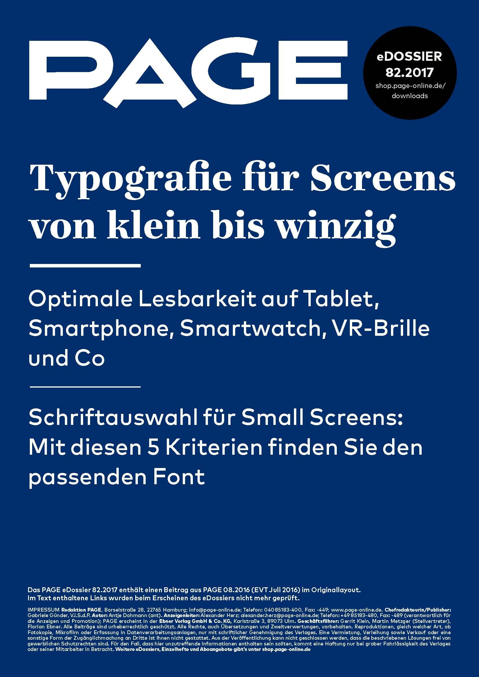 Produkt: eDossier »Typografie für Screens von klein bis winzig«