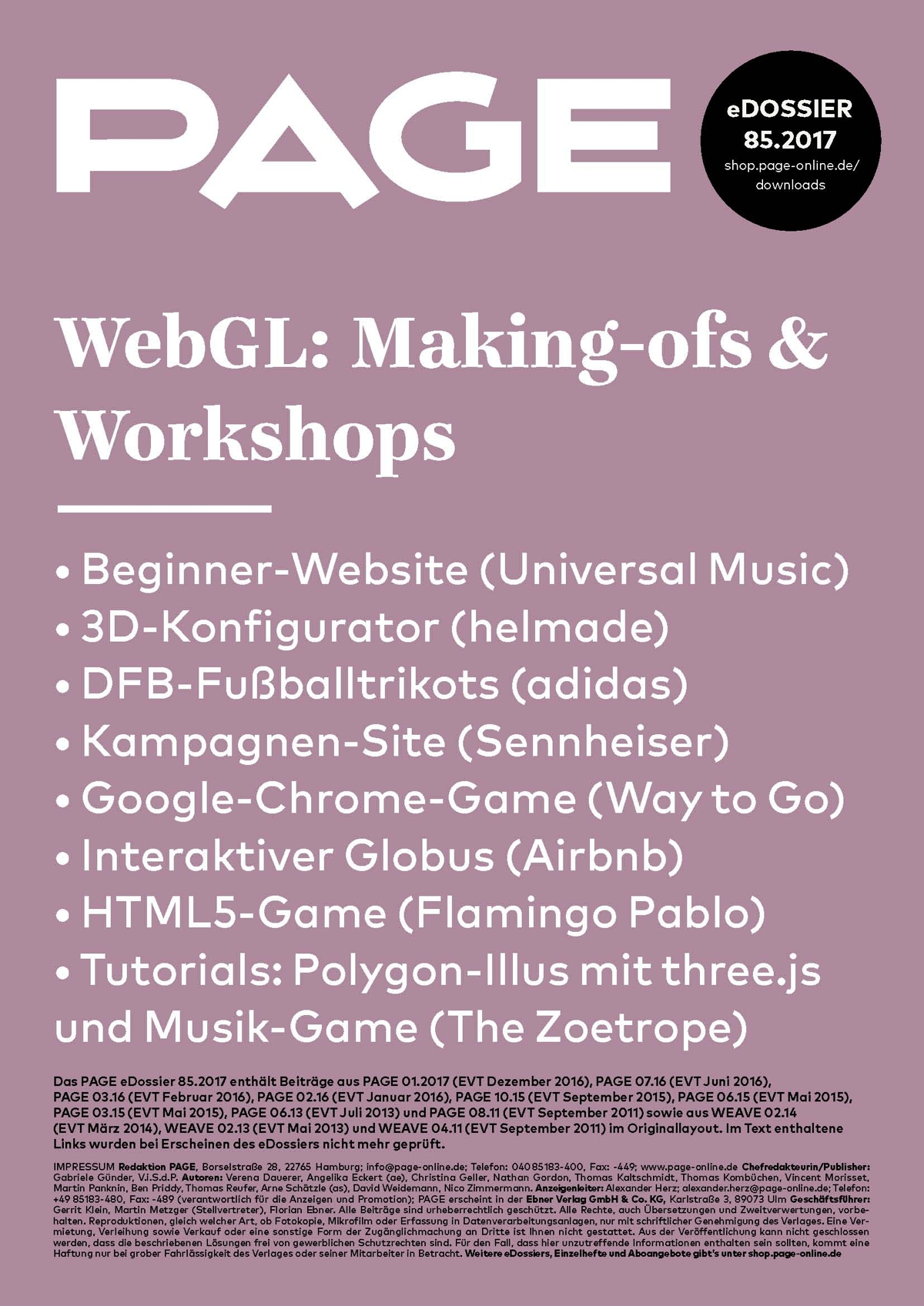 Produkt: eDossier: »WebGL: Making-ofs und Workshops«