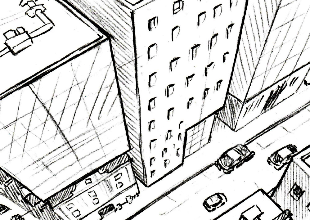 Comicskizze einer Doppelseite