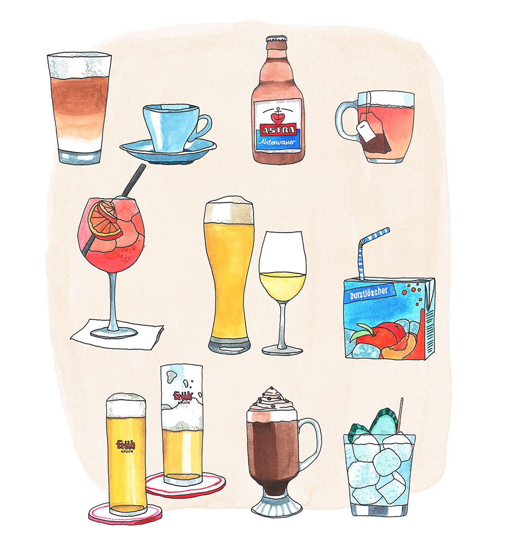 Illustration Tinder Date Drinks