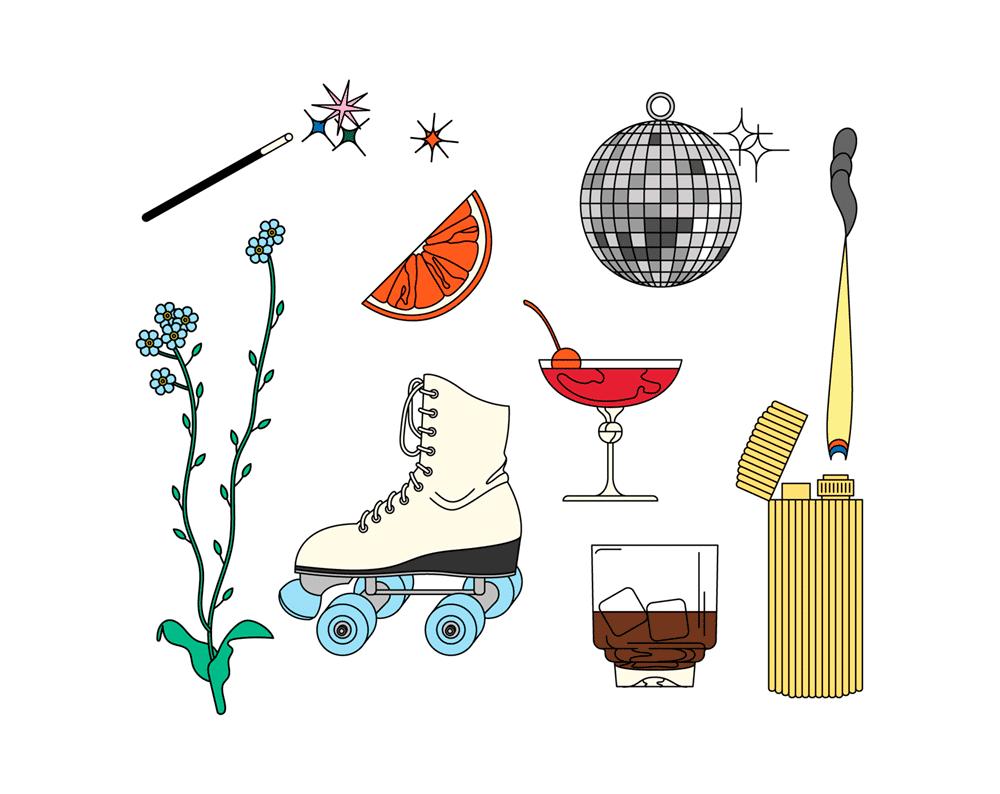 Illustration zum Thema Disco von Laura Edelbacher