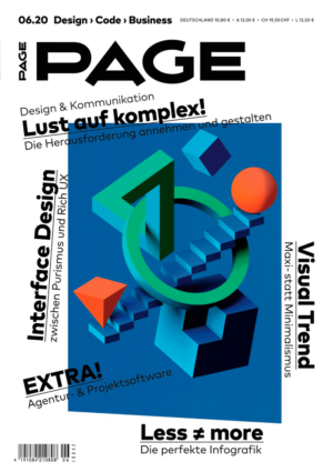 Cover PAGE 06.2020, Lust auf Komplex: Interface Design, Visual Trends, EXTRA Agentursoftware