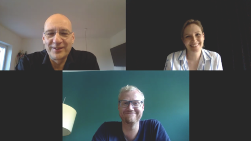 Boris Kochan, PAGE-Redakteurin Nina Kirst und Christian Büning im Zoom-Interview