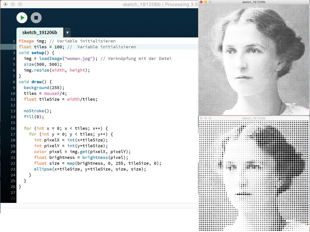Gerastertes Bild mit Processing