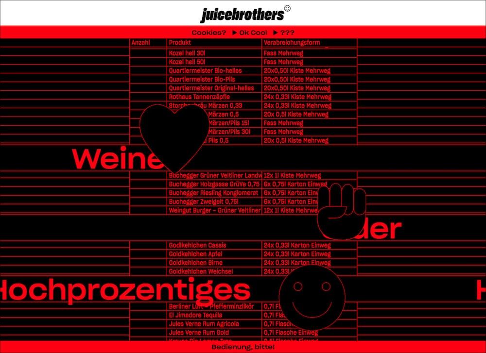 Webshop Getraenkelieferant Juicebrothers Animationen
