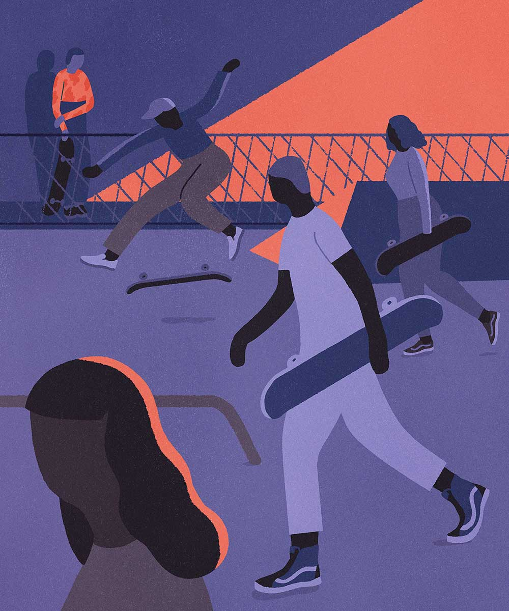 Illustrationen über Skating, Balance und Kickflips