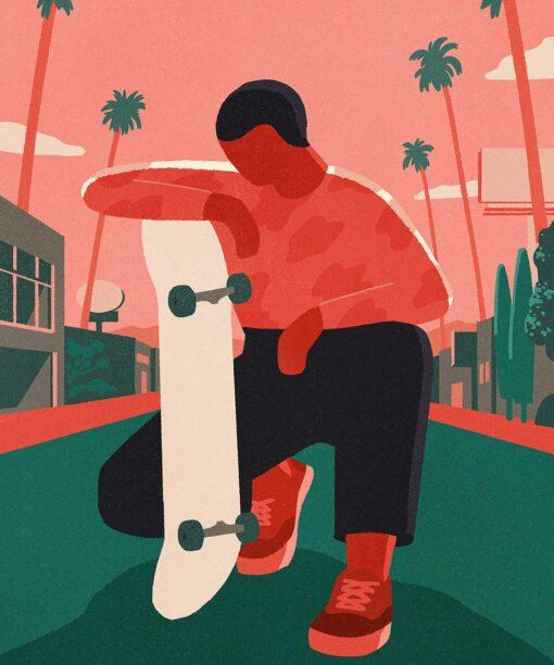 Illustrationsprojekt über Skateboarding: Balance and Kickflips