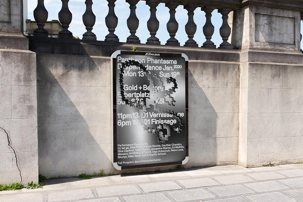 Poster für die Ausstellung Pantheon Phantasma (In Zusammenarbeit mit Elois Harris)