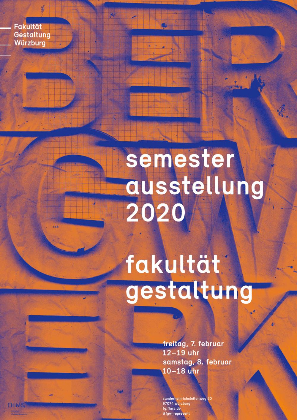 Semesterausstellung 2020 an der FHWS Gestaltung in Würzburg