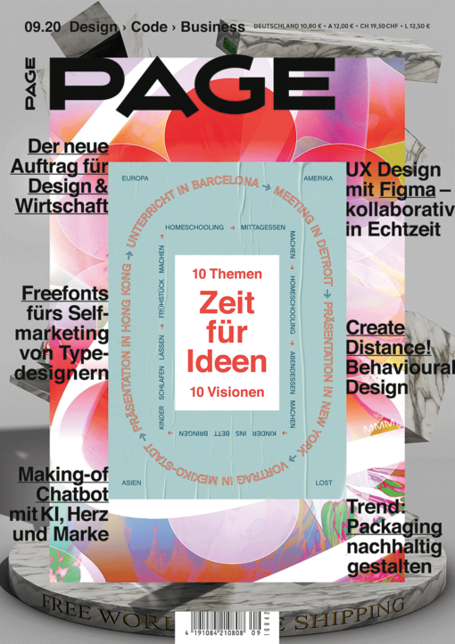 PAGE 09.2020: Zeit für Ideen – 10 Themen, 10 Visionen, Free Fonts, Webfonts, Typografie, UX Design, Ecodesign, Packaging, Corporate Design