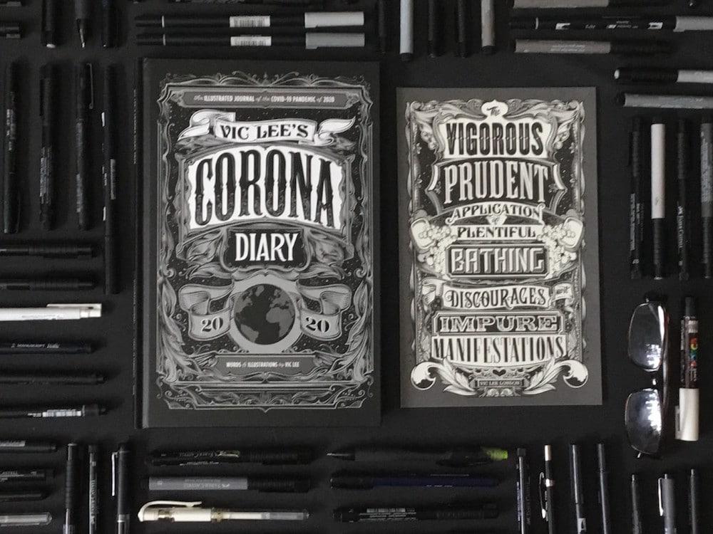 Corona Diary von Illustrator Vic Lee, Voder- und Rückseite