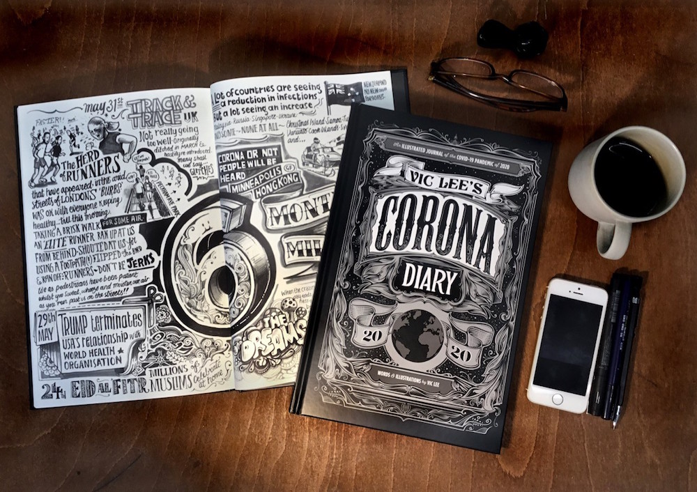 Corona Diary von Illustrator Vic Lee, man sieht es aufgeschlagen und das Cover