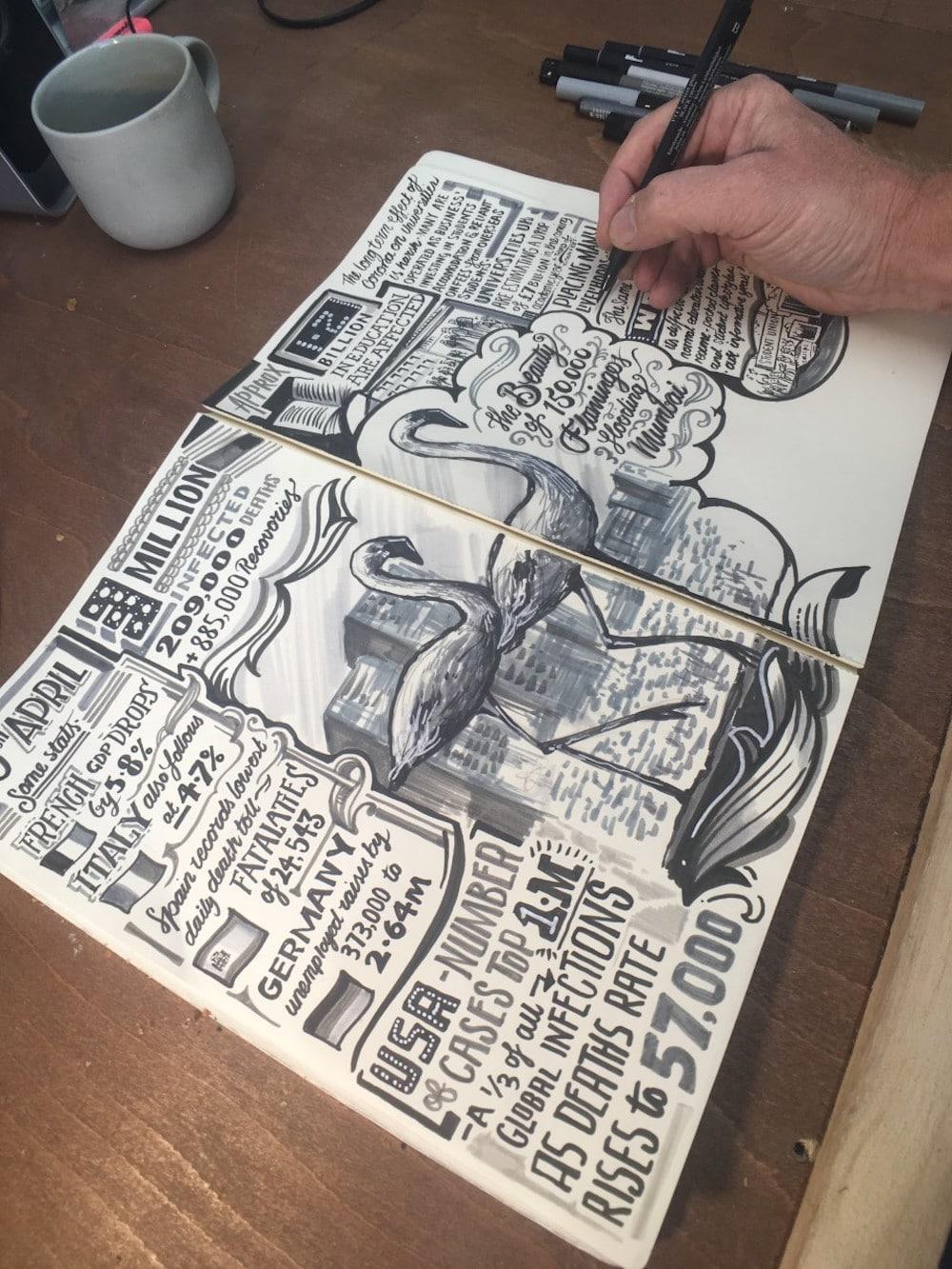 Corona Diary von Illustrator Vic Lee, man sieht wie er zeichnet
