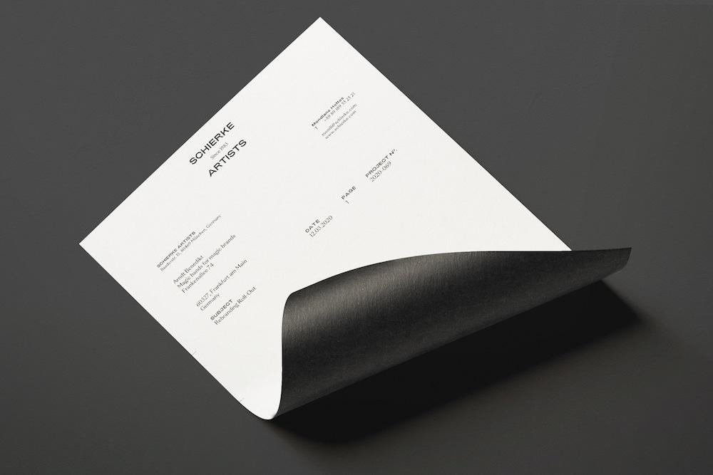 Schierke Artists Geschäftsausstattung Briefbogen mit neuem Logo